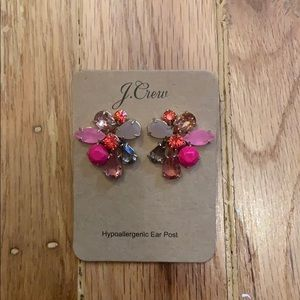 J.crew pink crystal cluster earrings